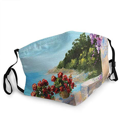 Mokale Face Cover Sea View Balcony with Cosy Rocking Chair Flowers in Summer Sky Oil Painting Balaclava Reusable Anti-Dust Mouth Bandanas