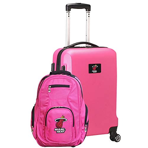 NBA L104 Deluxe 2-Piece Backpack and Carry-On Luggage Set (Pink, Miami Heat)