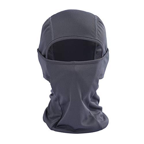 Balaclava Bivakmuts, zwart, volgelaatsmasker, winddicht, lichte balaclavas voor mannen en vrouwen, voor outdoor, motorfiets, fietsen, sport, nylon grijs