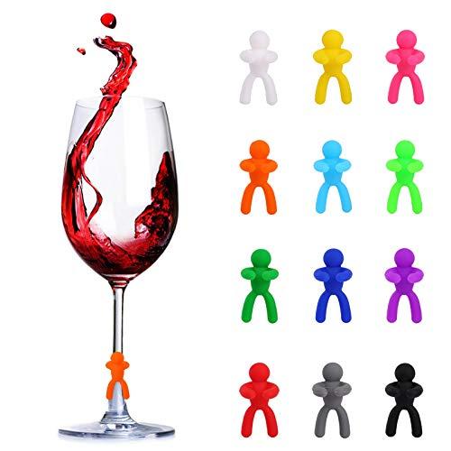 PUMYPOREITY 12 Pezzi Segnabicchieri Silicone Marcatori per Bicchieri di Vino Segna Calici Identificativi Riutilizzabili per Identificazione Bicchieri da Vino Champagne Cocktail Martini(3*2*1.4CM)
