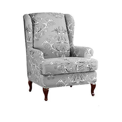 weenine Durable Soft High Stretch 2 Piece Printed Wing Chair Cover, Wingback Armchair Slipcovers Spandex Sofa Covers Furniture Protector (Printed Gray)