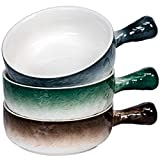 AQUIVER 21 Oz French Onion Soup Bowl - Porcelain Water Ripple Relief Textured - for Tortilla Soup, Oatmeal, Cereal, Chicken Pie, Beef Stew, Chowder - Set of 3 (3Colors)