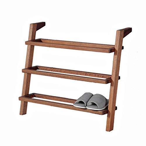 Zapateros de madera de 4 niveles estilo escalera Estantes creativos de piso de pasillo para el dormitorio Estantes de exhibición de almacenamiento de zapatos escalonados de color nogal - L80 & times;
