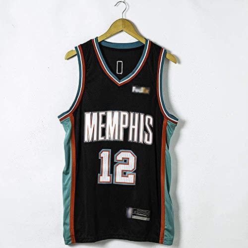 XUECHEN Ropa Uniformes de Baloncesto de los Hombres, Memphis Grizzlies # 12 JA Morant NBA Tirable y Secado rápido Camisetas Chalecos Deportes Tops Basketball Jerseys, Negro, L (175~180 cm)