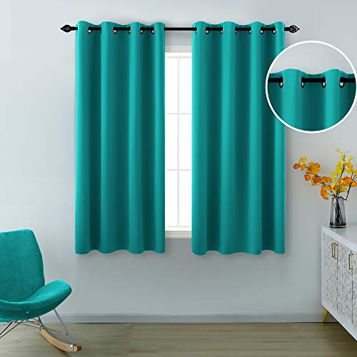 Teal Curtains 45 Inch Length for Bedroom 2 Panels Room Darkening Drapes Privacy Grommet Blackout Short Curtains for Small Bathroom Windows 52 x 45 Inches Long