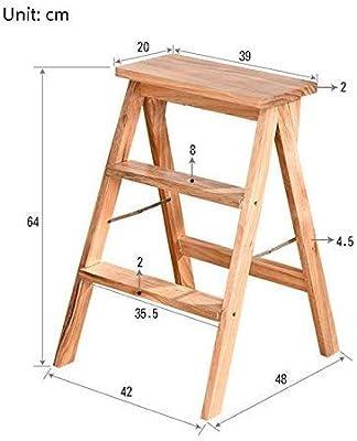 Taburete plegable fácil y multifuncional, taburetes de escalera para el hogar Taburetes de madera de doble