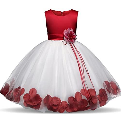 RONGXIANMA Disfraces de Navidad para nios Vestido de Cinta Floral para nios Vestido de Tul para nia Vestido de Navidad para nia Disfraz de nia de Navidad