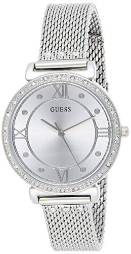 GUESS Women's Guess Woman Watch - JEWEL Silver 34mm Steel Bracelet Case Quartz Analog Watch W1289L1