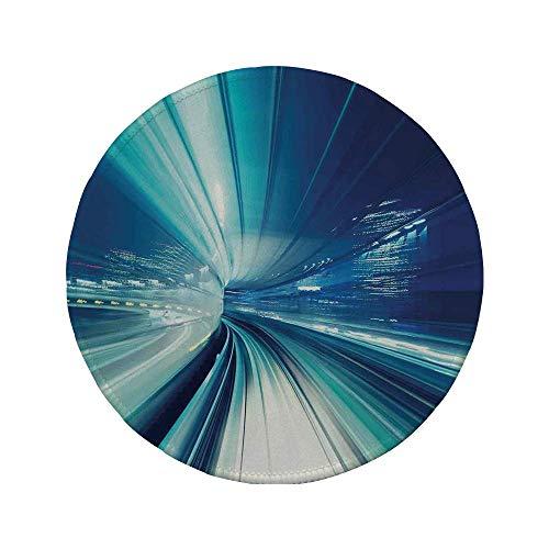 Rutschfreies Gummi-rundes Mauspad abstraktes Dekor Zug Yurikamome Tokio Asiatische moderne Landschaft bei Nacht Kunstwerk Blau Weiß und Dunkelblau 7.9