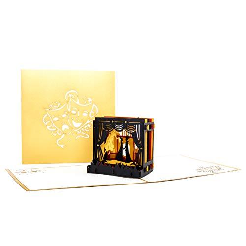 """Pop-Up Karte """"Theaterbühne"""" Theatergutschein, Einladung, Geburtstagskarte, edle goldene 3D Karte Theater - 4"""