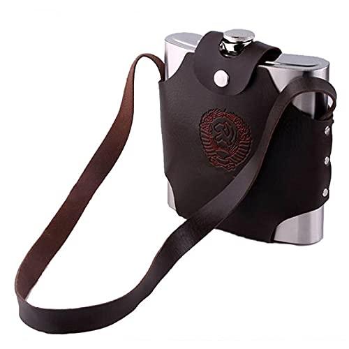 PQXOER Petaca 18 oz (500 ml) Caza acero inoxidable Hip Flask Alcohol Pot Botella portátil regalo para hombres camping senderismo frascos