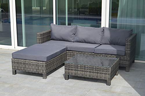 OUTFLEXX Loungemöbel, grau, Polyrattan/Polyester, für 4 Personen, inkl. Kissen, Gartenmöbel-Set