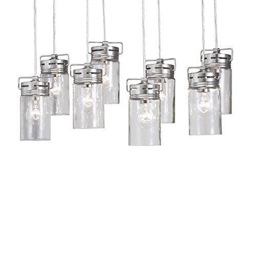 Vallymede 25.47-in Brushed Nickel Barn Multi-Light Clear Glass Jar Pendant