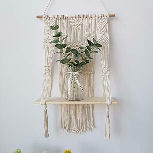 Macrame Wall Hanging Shelf, Wood Floating Hanging Storage Shelf Organizer Hanger, Handmade Cotton Rope Bohomia Woven Home Wall Decor (Heart)