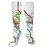 HJshber Calcetines de compresión para mujeres y hombres, calcetines de tubo largos hasta la rodilla de Washington Dc Map Casual para correr, fútbol, deportes deportivos, vuelos, viajes