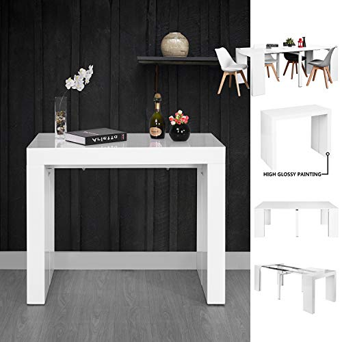 Homy Casa Inc Extensible Flexible Seating Space Saving dining table, White