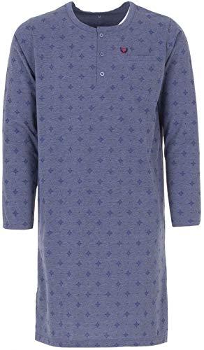 Henry Terre Herren Nachthemd Langarm mit Brusttasche, Farbe:Blau, Größe:L