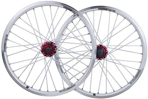 Knoijijuo Bicicletta assili 20 Pollici BMX Cerchio di Bicicletta Freni a Disco Ruote Alluminio Doppio Strato V Rapid 7 8 9 10 32H velocità,Bianca