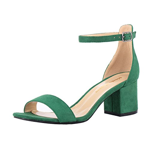 Women's Strappy Chunky Block Low Heeled Sandals 2 Inch Open Toe Ankle Strap High Heel Dress Sandals Daily Work Party Shoes Velvet Green Size 6