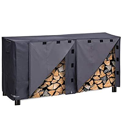 """PJDH Firewood Log Rack Covers, 8FT Waterproof All-Weather Outdoor Protection for Firewood Rack Cover 96"""" x 24"""" x 42"""", Grey"""