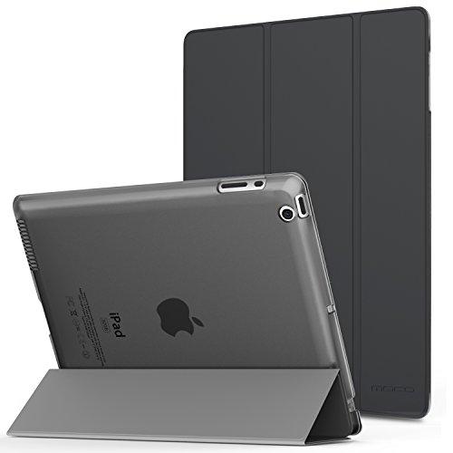 MoKo Hülle für iPad 2/3 / 4 - PU Leder Tasche Schale Smart Hülle mit Translucent Rücken Deckel, mit Auto Schlaf/Wach Funktion & Standfunktion für Apple iPad 2/3 / 4 9.7 Zoll Tablet-PC, Space Grau
