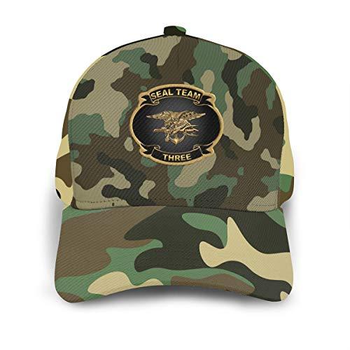 US Navy Seal Team 3 Army Green Camouflage Adjustable Baseball Cap Dad-Hat