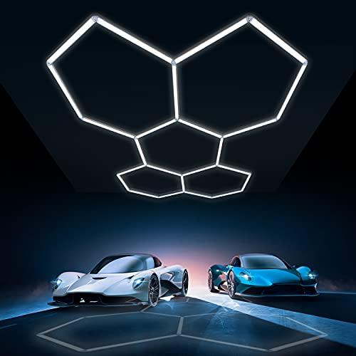 Car Detailing LED Shop Light Hexagrid, 24 Pack LED Garage Lights, 144W 15950LM 6500K Daylight White, Linkable Plug-in Ceiling Light for Garage Workshop Basement Gym Warehouse 95x66inch