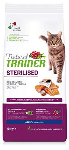 Trainer Natural - Cibo Secco per Gatti Adulti Sterilizzati, Con Salmone e Fibra di Pisello 10 kg