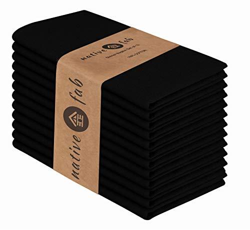 Native Fab Stoffservietten 12er-Set 100% Baumwolle 44x44 cm für Veranstaltungen und regelmäßige Heimnutzung, Weich Bequem Maschinenwaschbar Wiederverwendbare Servietten Schwarz