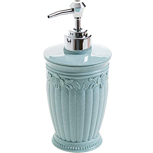 1PC Creative Shampoo Bottle European Style Luxury Hand Soap Liquid Bottles Refillable Plastic Bottles Leak-Proof Shampoo Dispenser(Round Bottle,Blue)