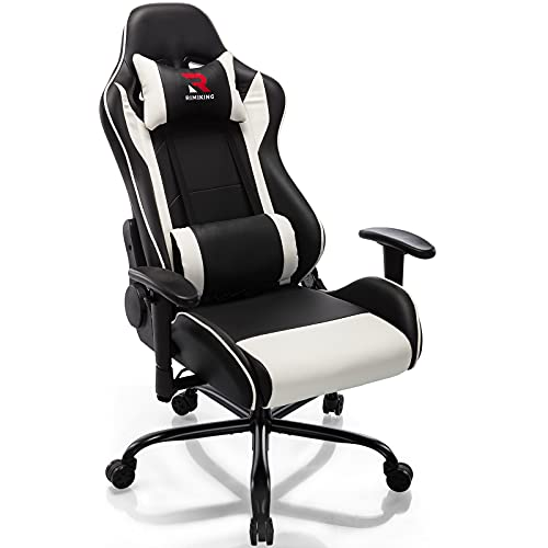 RIMIKING Massage Gaming Chair Office Chair Ergonomic PC Computer Chair Reclining Racing Chair with High Back Office Desk Chair, 360°Swivel Task Chair, Adjustable Armrest Lumbar Support Soft Headrest