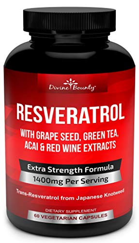 Resveratrol Supplement - 1400mg Extra Strength Formula with Grape Seed Extract, Green Tea Extract, Red Wine Extract - 60 Veggie Capsules