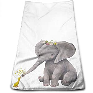 Cute Elephant with Floral Wreath Hand Towels for Bathroom 27.5'' X 12'' Soft Microfiber Towel Yellow Little Duck Small Bath Towels Kitchen Dish Towel