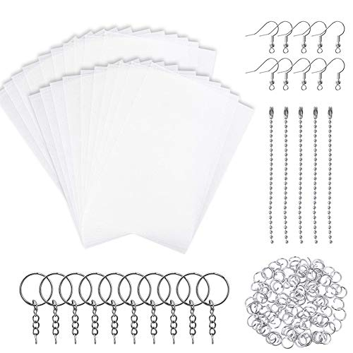 Rainmae 145pcs Heat Shrink Plastic Sheets Pack, Include 20 PCS Blank Shrinky Art Film Paper with 125 PCS Keychains Accessories for DIY Ornaments or Creative Craft