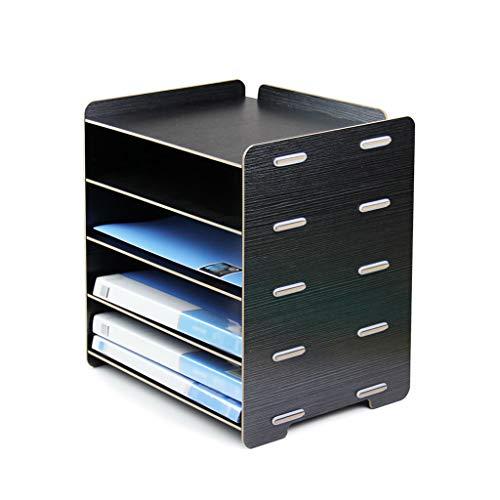 HUANGDA 4-Fach-Desktop-Dateiablage Creative Large 5-Schicht-Datenablage Desktop-A4-Ablagekorb Holzregal-Bürobedarf (Color : Noir)