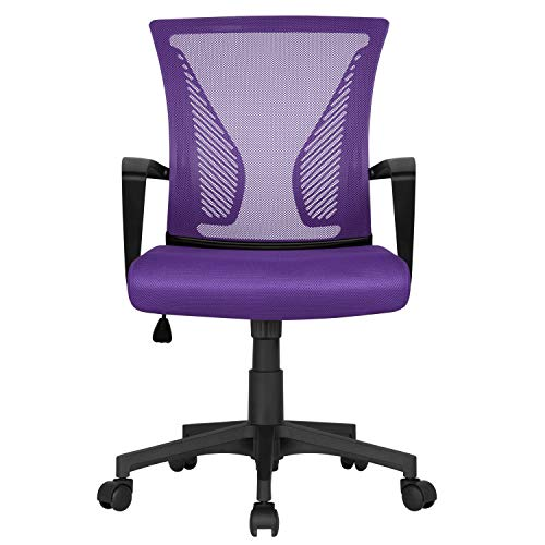 Yaheetech Purple Office Chair Executive Computer Chair Adjustable Desk Chair Swivel Study Chair with Comfortable Lumbar Support for Home