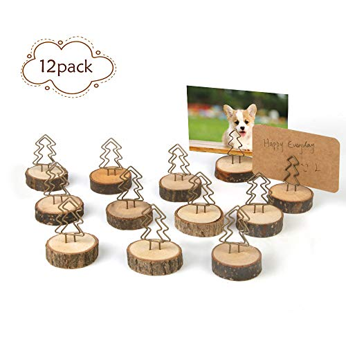 Amytalk 12Packs Wood Place Card Holders with Evergreen Tree Wire and 20Pcs Kraft Place Cards, Wooden Table Memo Photo Picture Number Sign Stands Holder for Party Wedding Anniversary Table Decoration