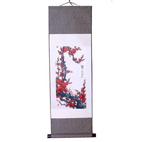 Pintura asiática tradicional – Modelo flores ciruela – Impresión en seda