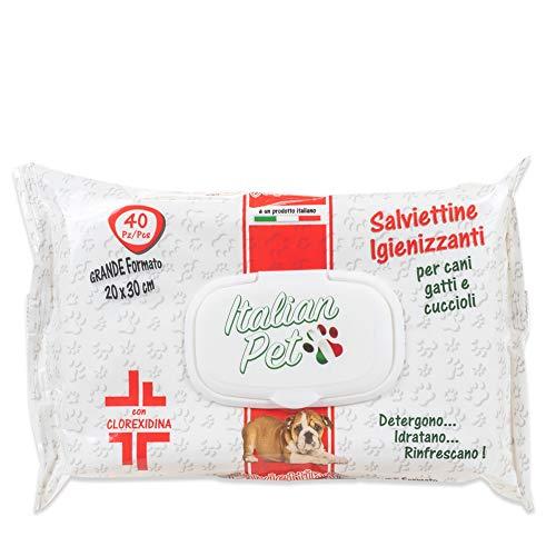 Italian Pet Salviette Igienizzanti per Animali Domestici - Salviettine Disinfettanti Umidificate alla Clorexidina per Pulire Zampe e Pelo di Cani e Gatti - Confezione 40 Salviette Monouso, 30x20 cm