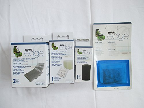 Fluval Edge Ersatzteil für Filtermaterial - Biomax, Schaumstoff, Kohlenstoff, 3 Stück