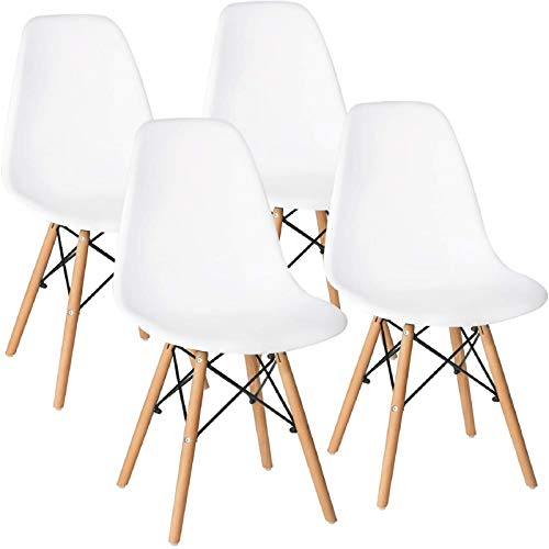 Bossin Mid Century Style DSW Dining Chairs, Modern Eames Style Dining Chairs Shell Lounge Plastic Side Eiffiel Chair with Wood Leg for Kitchen, Dining Room, Living Room, Set of 4 (White)