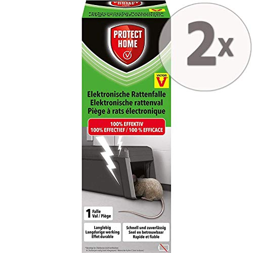 Protect Home Elektronische Rattenfalle, sauber und sicher gegen Ratten, Sparpack 2 Stück Plus Zeckenzange mit Lupe