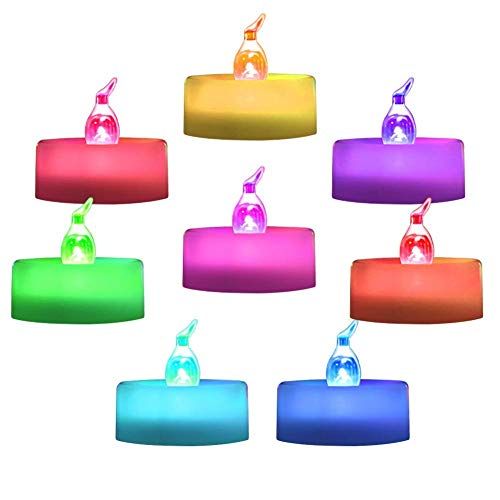 Homemory 24 Pack Colour Changing LED Tea Lights, Flameless Tealight Candles with Rainbow Colors, Battery Operated Colored Fake Candles for Wedding, Party and Christmas, No Flickering Light
