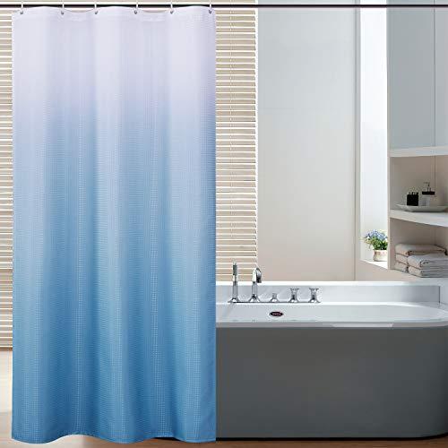 Bermino Duschvorhang aus strukturiertem Stoff, Ombre-Duschvorhang für Badezimmer mit 12 Haken, 91,4 x 182,9 cm, Himmelblau