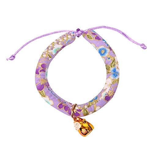 Huangzhiping Katzenhalsband Japanisch Stil Handgefertigt Blumenaufdruck Stil Haustier Katze Hund Halskette Verstellbar Halsband Katze Kätzchen Mütze Deko Liefert - H01, M