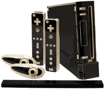 Black Chrome Mirror Vinyl Decal Faceplate Mod Skin Kit for Nintendo Wii Console by System Skins