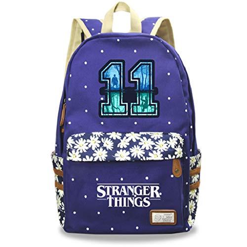 Mochila Stranger Things 3, Mochila Stranger Things Escolar Niño y Niñas Adolescente Primaria Mochilas y Bolsas Escolares Stranger Things Impresión Juvenil Bolsa Infantil (Azul Oscuro-3)