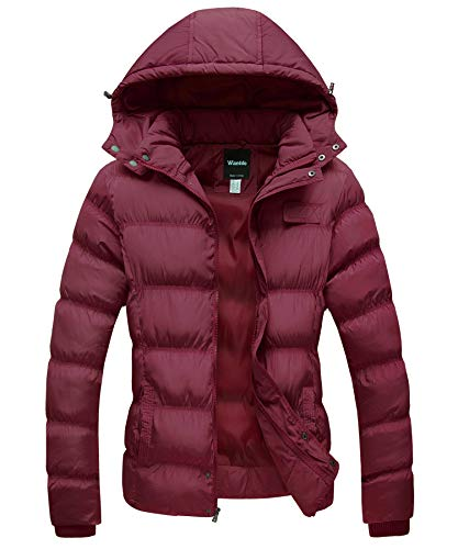 Wantdo Women's Thicken Parka Coat Winter Warm Puffer Jacket Burgundy XXL