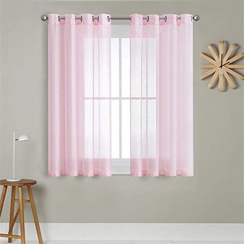 MRTREES Voile Gardinen Vorhang halbtransparent kurz mit Ösen in Leinenoptik Stores Gardinen Schals für Wohnzimmer Schlafzimmer Kinderzimmer Rosa 160×140cm (H×B) 2er Set