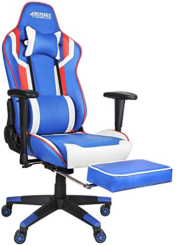 360 Degree Swivel Adjustable Gaming Chair, 135 Degree Reclining Computer Chair High Back Ergonomic Style Racing Chair Leather Office Chair with Footrest, Headrest Lumbar Support (Blue+White) chair footrest gaming